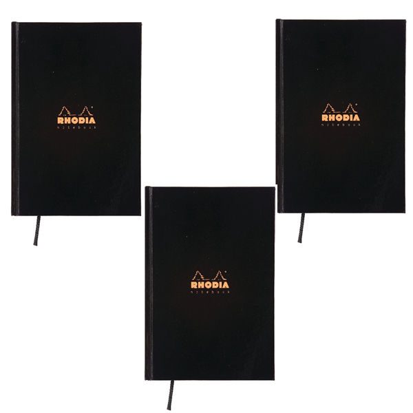Rhodia Business A5 Book Casebound Hardback 192 Pages Black (Pack of 3) 119231C