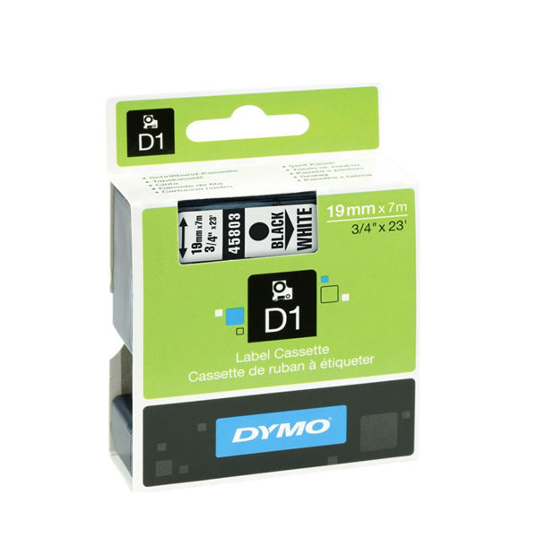 Dymo D1 Standard Label Tape Black on White - 19mmx7m - S0720830
