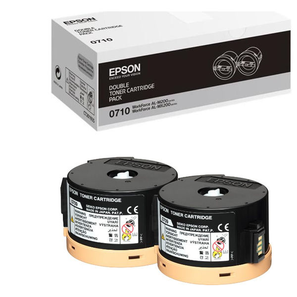 Epson S050710 Black Toner Cartridge Twin Pack (Pack of 2) C13S050710