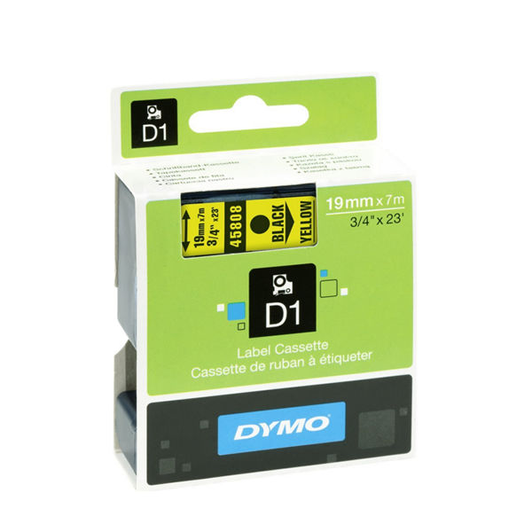 Dymo D1 Standard Label Tape Black on Yellow - S0720880
