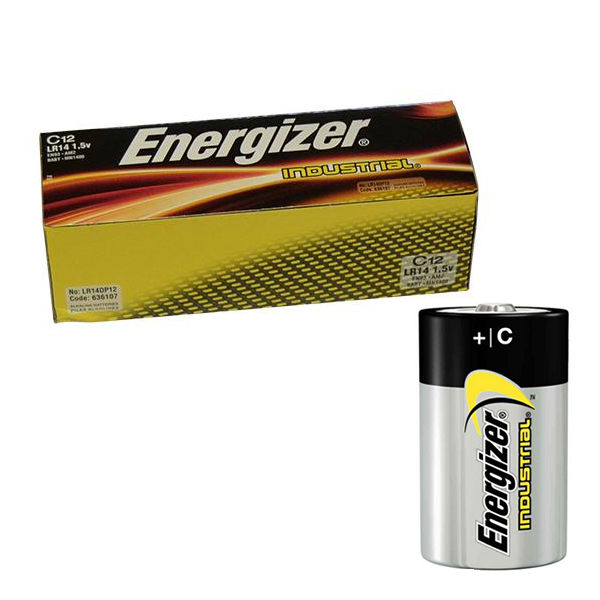 Energizer C Industrial Batteries, Pack of 12 - 636107