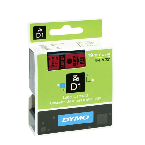 Dymo D1 Standard Label Tape Black on Red - ES45807