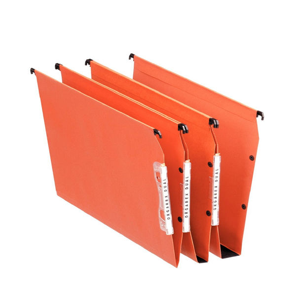 Esselte Orgarex Orange A4 Lateral Files 30mm - Pack of 25 - 21629