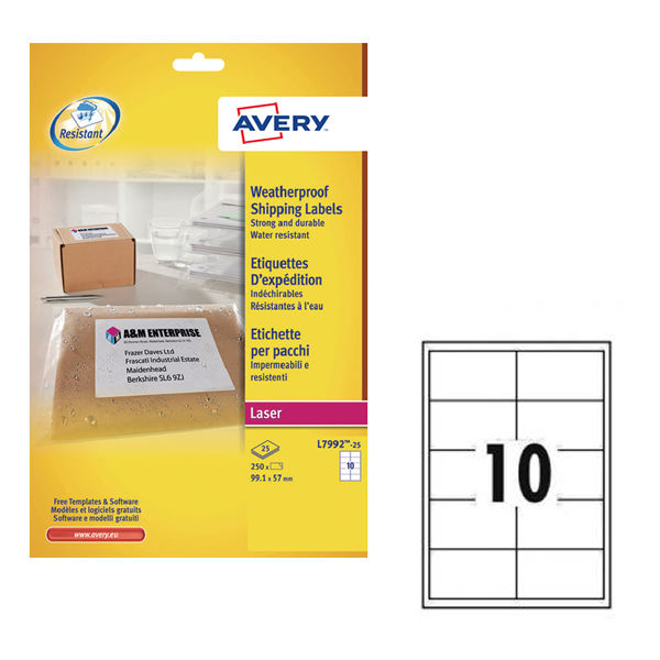 Avery White Weatherproof Shipping Labels, 99.1 x 57mm (Pack of 250) - AV04912