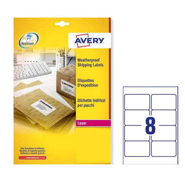 avery weatherproof white parcel label 99 1 x 67 7mm 8 per sheet 200