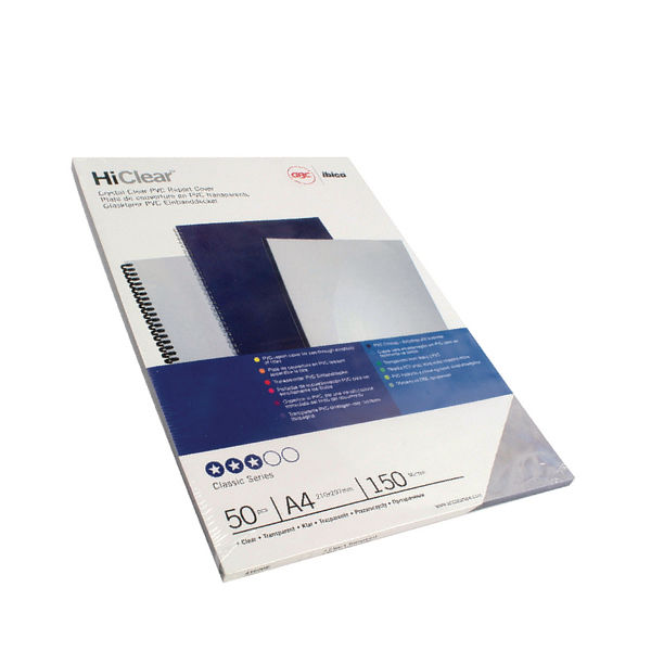 GBC Superclear A4 PVC Covers 150 Micron, Pack of 50 - 41601U