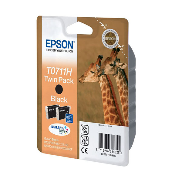 Epson T0711H Black Ink Twin Cartridge Pack - High Capacity C13T07114H10