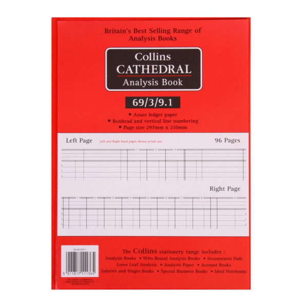 Collins Cathedral Petty Cash Book, 3 Debit 9 Credit Columns - 8111367
