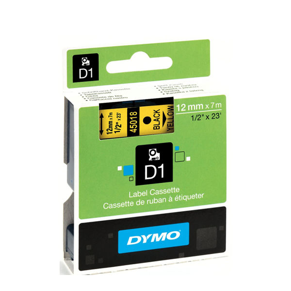 Dymo D1 Labelmaker Tape 12mm x 7m Black on Yellow | S0720580