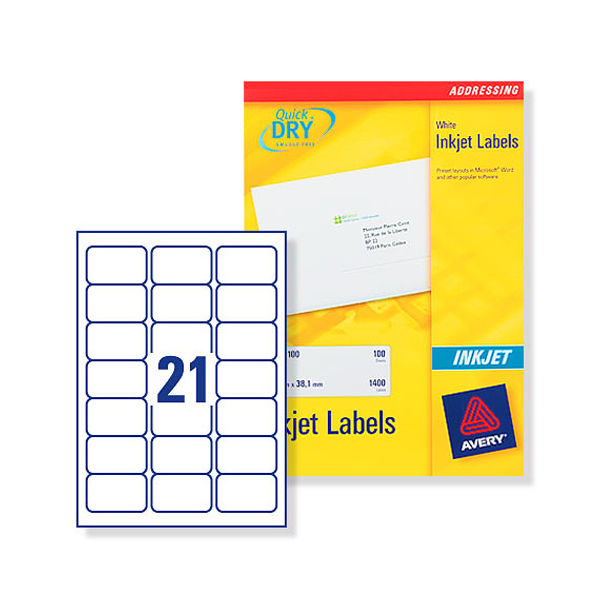 Avery Inkjet Address Labels QuickDRY 63.5x38.1mm 21 Per