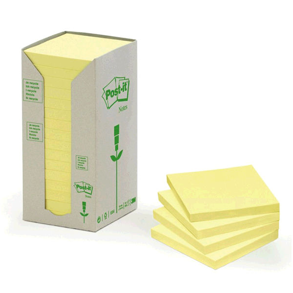 Post-it 76 x 76mm Recycled Notes Tower Canary Yellow, Pack of 16 - 3M10065