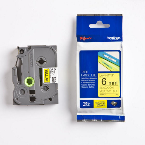 Brother TZe611 P-Touch Label Tape Yellow on Black - TZe-611