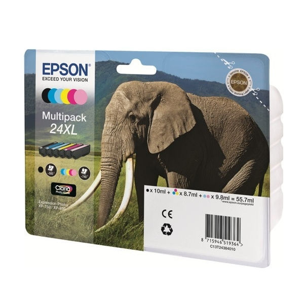 Epson 24XL High Capacity CMYKLCLM Ink Cartridge Multipack - C13T24384011