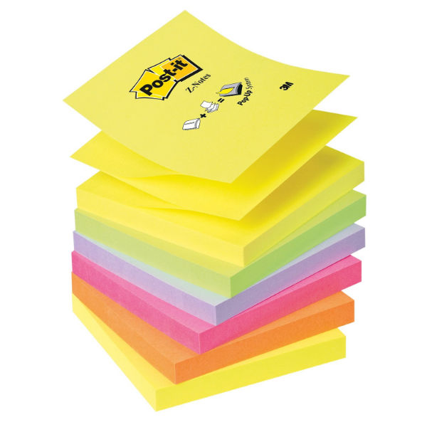 Post-it 76 x 76mm Neon Rainbow Z-Notes, Pack of 6 - R330 NR