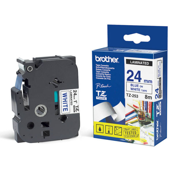 Brother P-Touch 24mm Blue on White Labelling Tape - TZE253