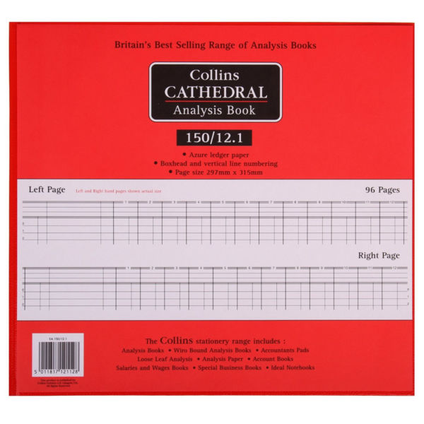 Collins Cathedral Analysis Book, 96 Pages, 12 Cash Columns - 812112/5