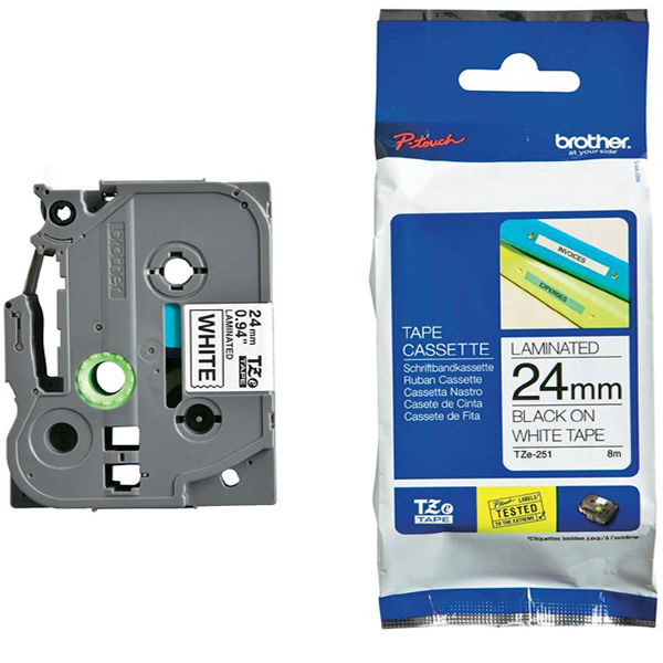 Brother TZe-251 Black on White 24mm P-Touch Label Tape - TZ251