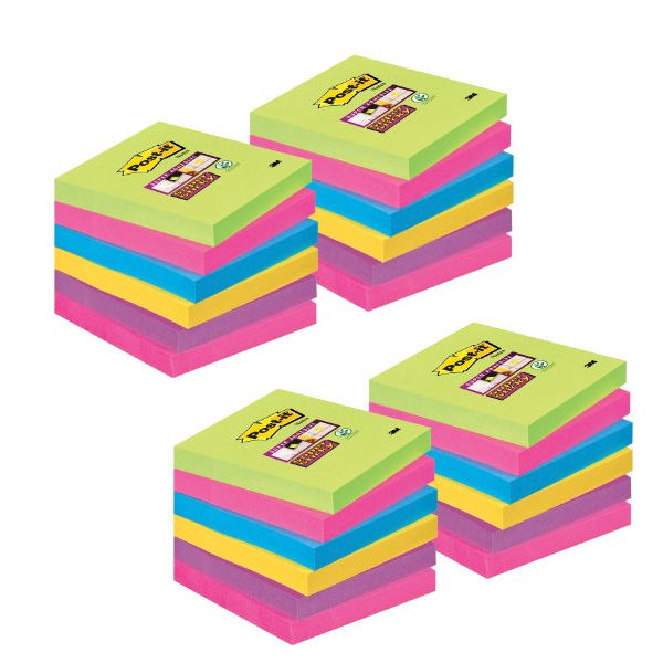 Post-it Notes Super Sticky 76 x 76mm Assorted Colours (Pack of 24) 654-SS-VP24COL-EU