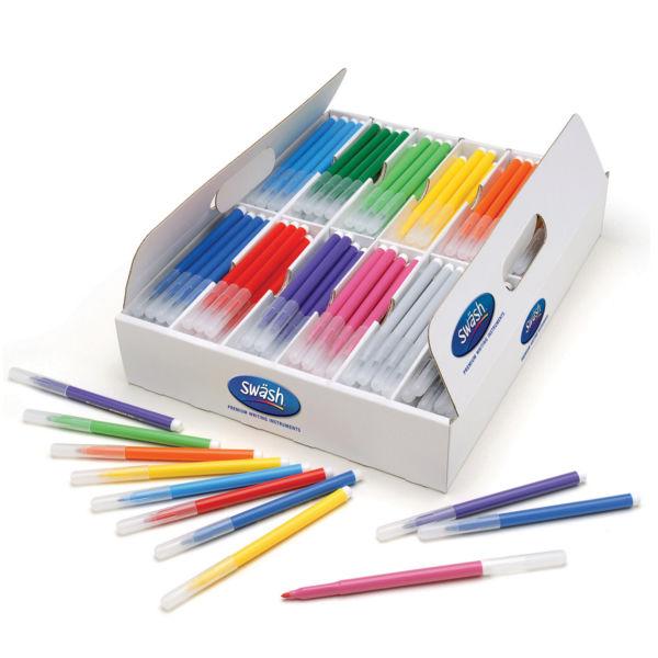 Swash Komfigrip Assorted Felt Tip Colouring Pens, Pack of 300 - TC300F