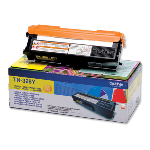 Brother TN-328 Yellow Extra High Yield Laser Toner Cartridge - TN328Y