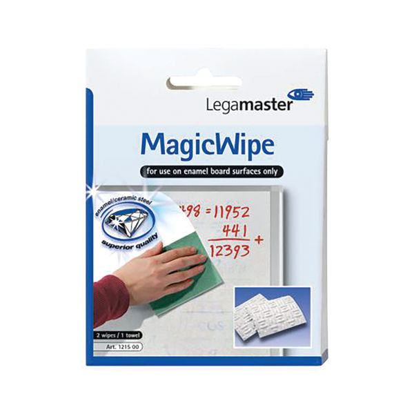 Legamaster MagicWipe Whiteboard 2 Wipes and 1 Drying Towel 7-121500