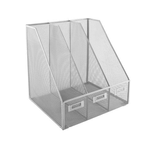 Mesh Magazine Rack 3 Compartments 252 x 305mm Silver MR3 SILVER