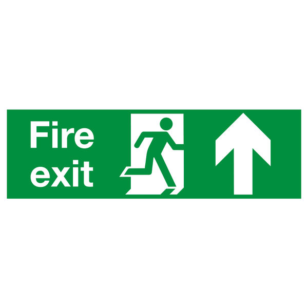 Fire Exit Running Man Arrow Up 150 x 450mm PVC Safety Sign - FX04711R