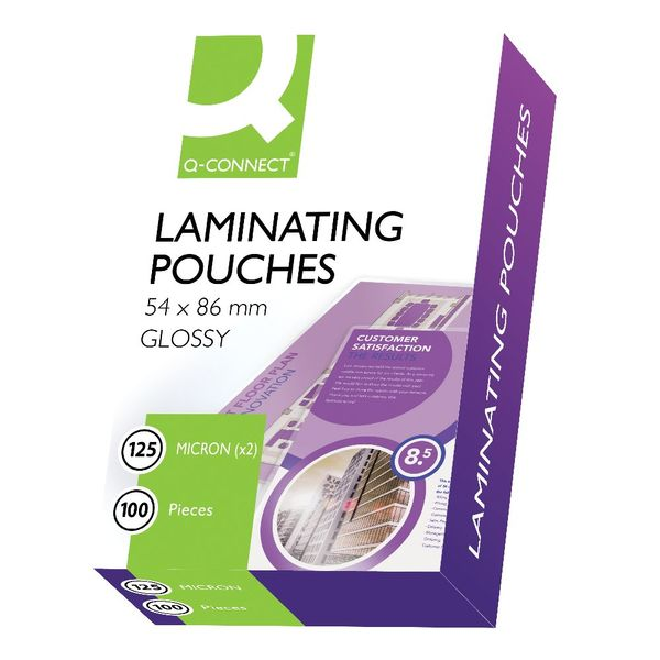 Q-Connect 54 x 86mm 250 Micron Gloss Laminating Pouches, Pack of 100 - KF01203
