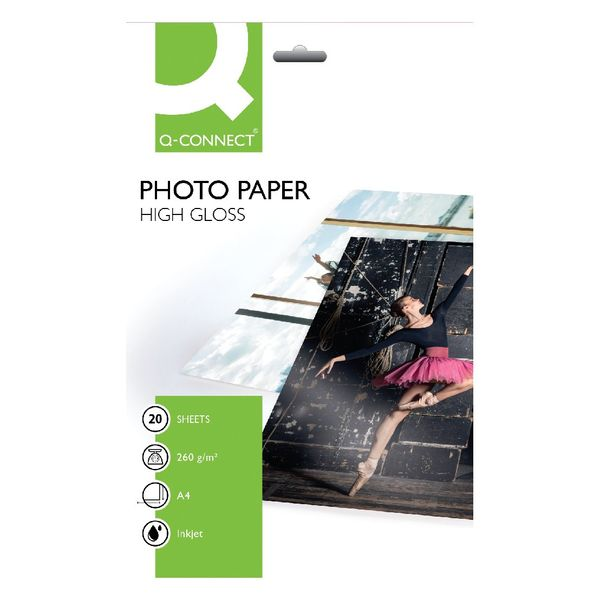 Q-Connect A4 White High Gloss Photo Paper 260gsm, Pack of 20 - KF02163