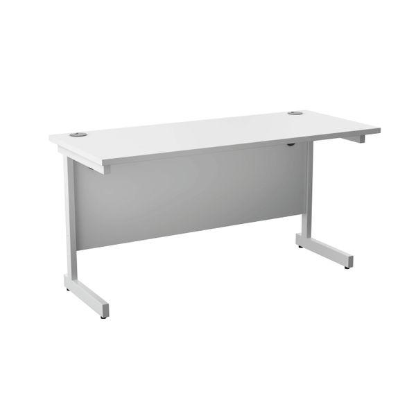 Jemini 1400x600mm White/White Single Rectangular Desk