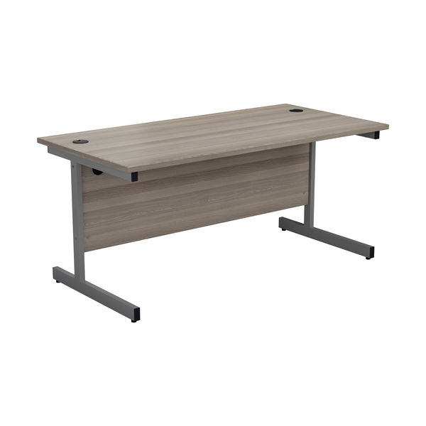 Jemini 1400x800mm Grey Oak/Silver Single Rectangular Desk
