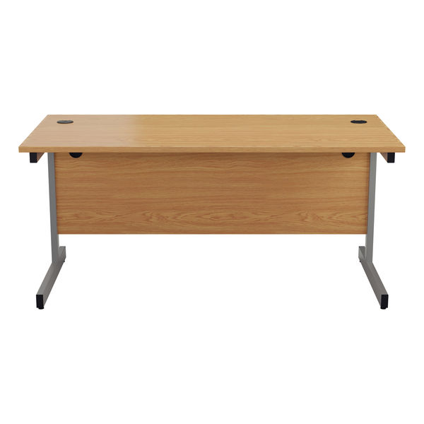 Jemini 1400x800mm Nova Oak/Silver Single Rectangular Desk