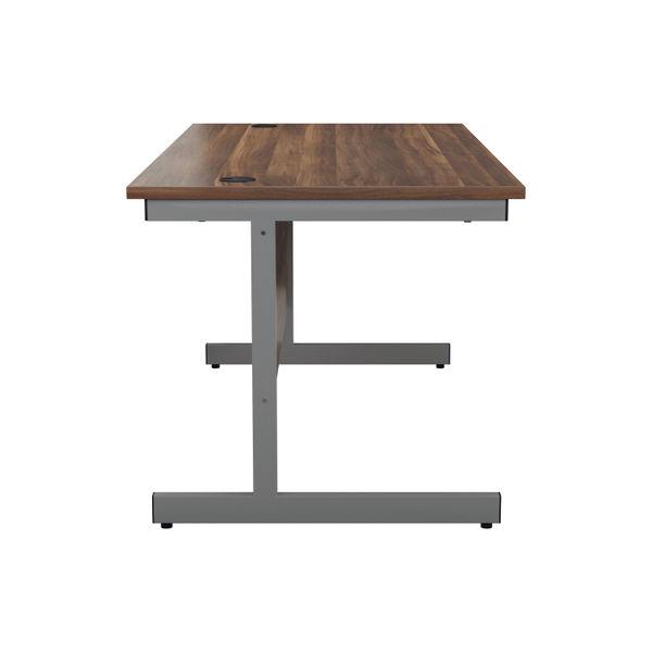 Jemini 1400x800mm Dark Walnut/Silver Single Rectangular Desk