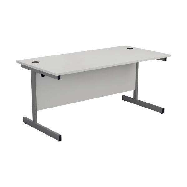 Jemini 1400x800mm White/Silver Single Rectangular Desk