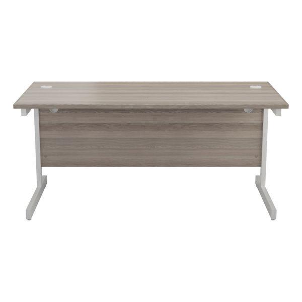 Jemini 1400x800mm Grey Oak/White Single Rectangular Desk