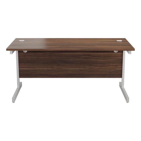 Jemini 1400x800mm Dark Walnut/White Single Rectangular Desk