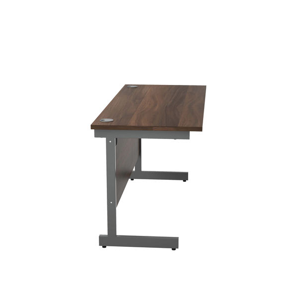 Jemini 1400x600mm Dark Walnut/Silver Single Rectangular Desk