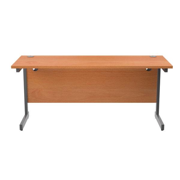 Jemini 1600x600mm Beech/Silver Single Rectangular Desk