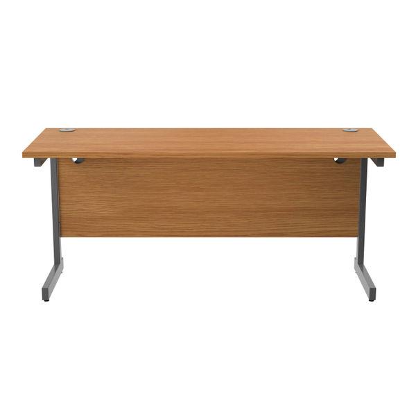 Jemini 1600x600mm Nova Oak/Silver Single Rectangular Desk