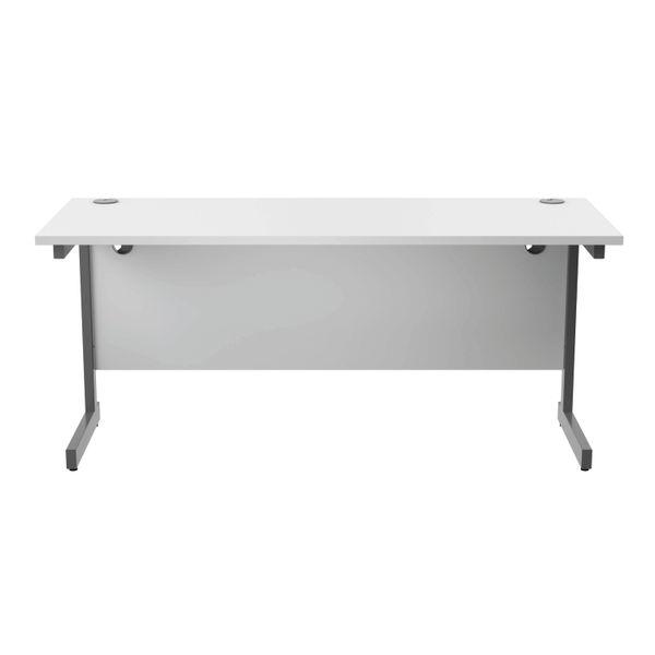 Jemini 1600x600mm White/Silver Single Rectangular Desk