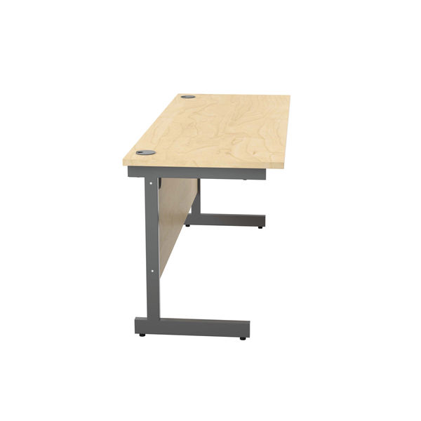Jemini 1600x600mm Maple/Silver Single Rectangular Desk