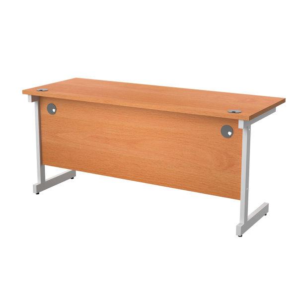 Jemini 1600x600mm Beech/White Single Rectangular Desk