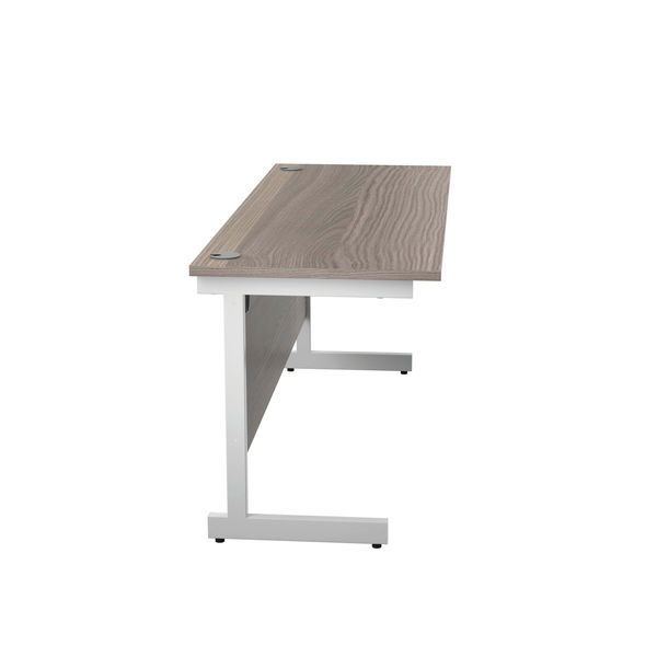 Jemini 1600x600mm Grey Oak/White Single Rectangular Desk