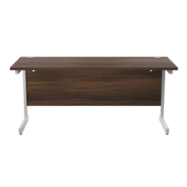 Jemini 1600x600mm Dark Walnut/White Single Rectangular Desk