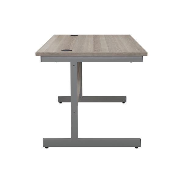 Jemini 1600x800mm Grey Oak/Silver Single Rectangular Desk