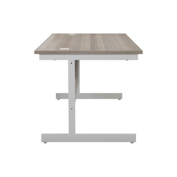 Jemini 1600x800mm Grey Oak/White Single Rectangular Desk