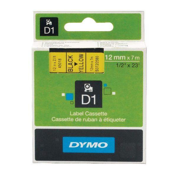 Dymo D1 Labelmaker Tape 12mm x 7m Black on Yellow | S0720580