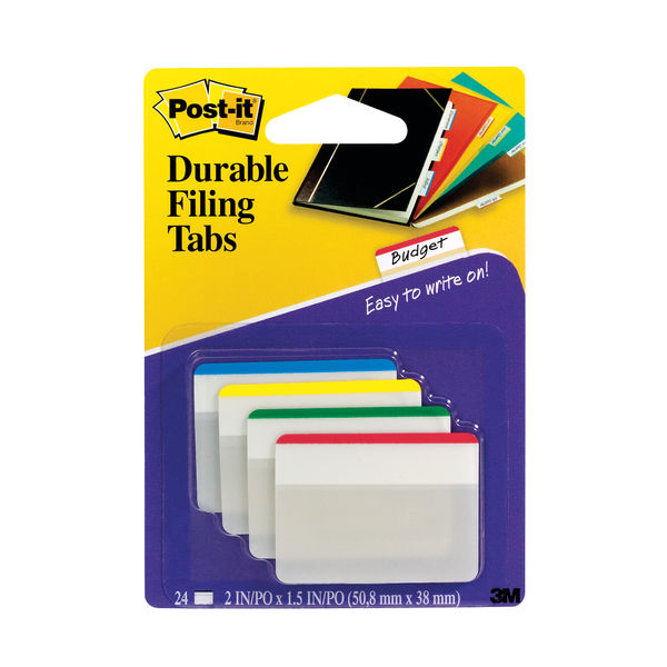 Post-it Assorted Index Flat Filing Tabs, Pack of 24 - 686-F1