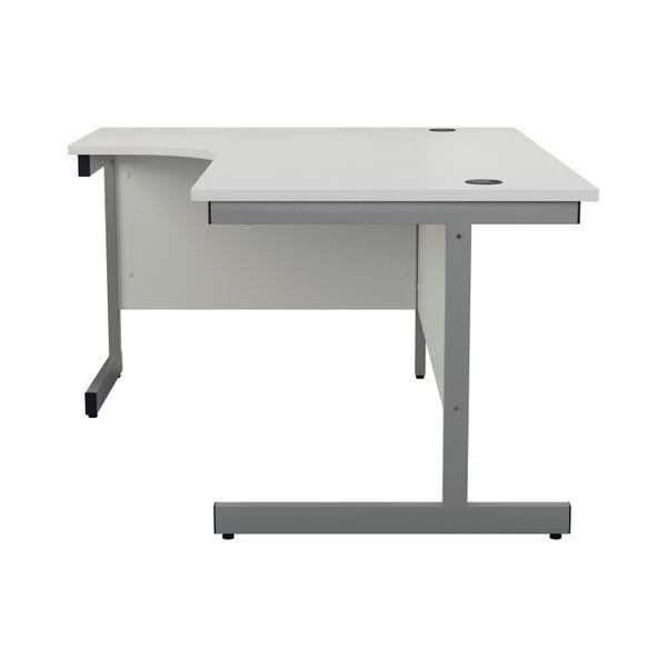 Jemini 1600mm White/Silver Left Hand Radial Desk
