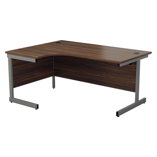Jemini 1600mm Dark Walnut/Silver Left Hand Radial Desk